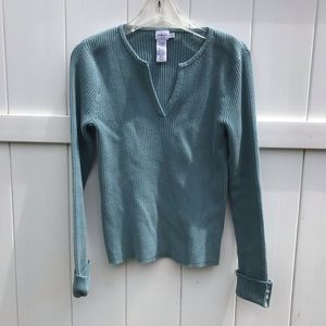 Calvin Klein V Neck Sweater Womens Large Aqua Blue